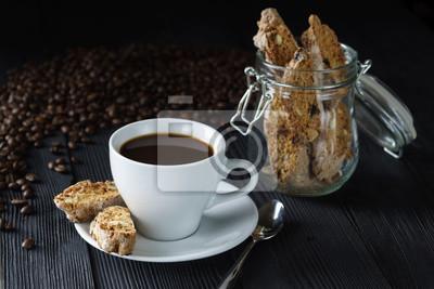 Guten Morgen Konzept Tasse Espresso Kaffee Mit Cantucci