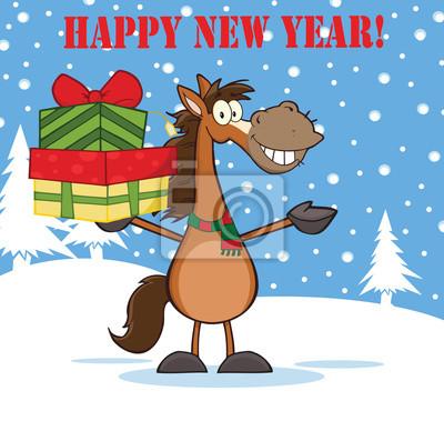 Guten rutsch ins neue jahr-gruß mit lächelnden pferd über ...