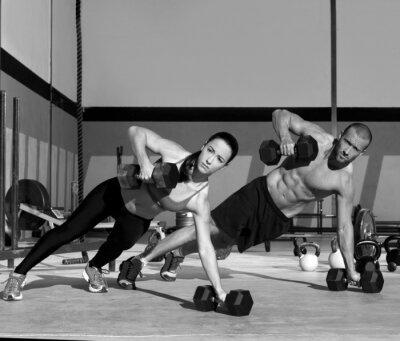 Fototapete Gym Mann und Frau Push-up-Festigkeit pushup
