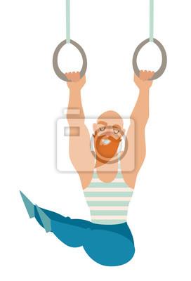 Gymnastik-Ringe. Bärtigen Schnurrbart Glatzkopf mit Muskeln hängen an den Ringen. Stilvolle Mann in einem Kittel. Isolierte Vektor-Illustration auf weißem Hintergrund.