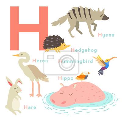 H Buchstabe Tiere gesetzt. Englisches Alphabet. Vektor-Illustration, isoliert auf weißem Hintergrund