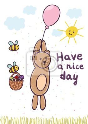 Haben Sie eine nette Tageskarte mit einem niedlichen Bärenfliegen auf einem Ballon