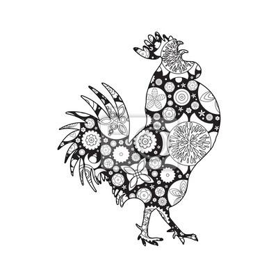 Hahn oder hahn, huhn, bauernhof vogel für erwachsene malvorlage ...