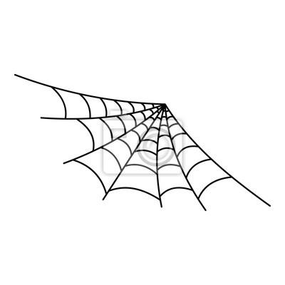 Halb runde spinnennetzikone. umreißen sie illustration der halb ...