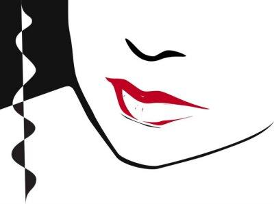 Hälfte der Frau Gesicht mit roten Lippen clored