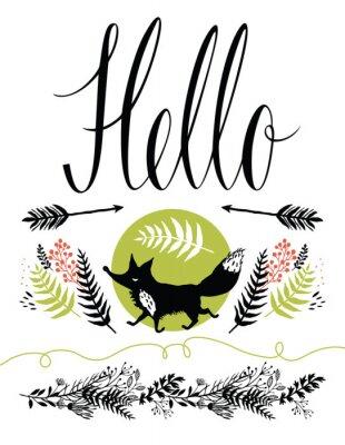 Fototapete Hallo Postkarte Cover-Design. Glückliche Fuchs und Waldkräutern, Pfeile
