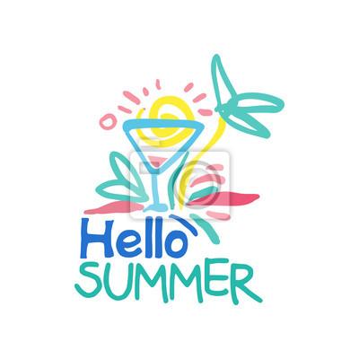 Hallo sommer logo vorlage, label für den sommerurlaub, restaurant ...