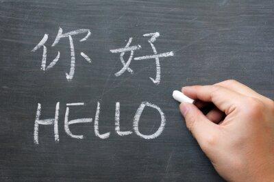 Fototapete Hallo - Wort auf einer Tafel geschrieben