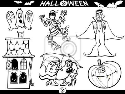 Halloween-cartoon-themen für malbuch fototapete • fototapeten ...