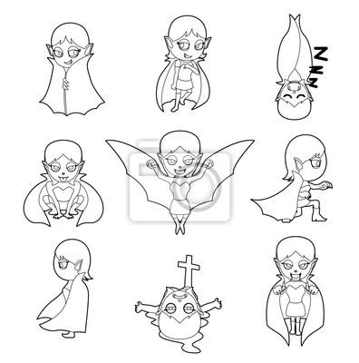 Halloween character big head poses vampire girl coloring book ...