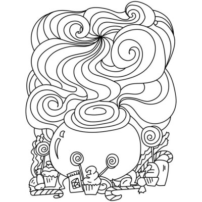 Fototapete Halloween coloring page, magic cauldron and sweets online for kids activity