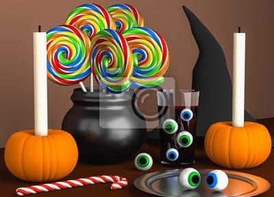 Halloween Dekoration Auf Dem Braunen Tisch Fototapete Fototapeten