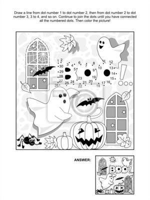 Halloween dot-to-dot und malvorlagen fototapete • fototapeten ...
