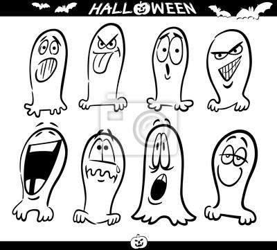 Halloween ghosts emoticons für färbung fototapete • fototapeten ...