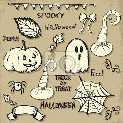 Fototapete Halloween Hand Zeichnen Kritzeleien Vektor Illustration