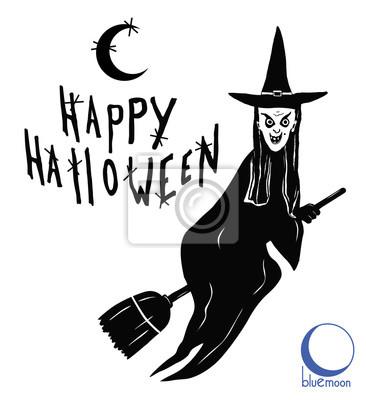 Halloween-hexe auf besen schwarz-weiß-vektor-illustration fototapete ...