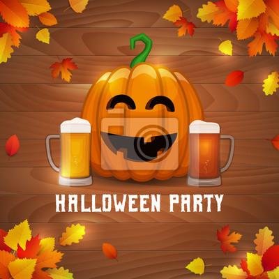 Halloween Bier.Fototapete Halloween Kurbisbier Party Vector Betrunken Kurbis Mit Zwei