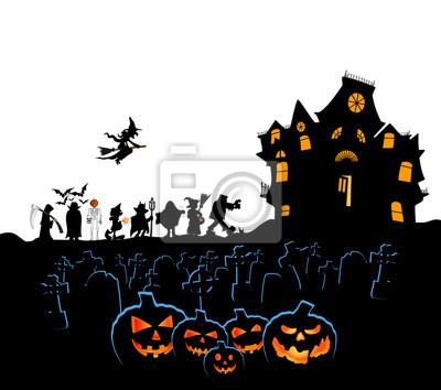 Halloween-kürbise mit kostümen friedhofstür und spukhaus fototapete ...