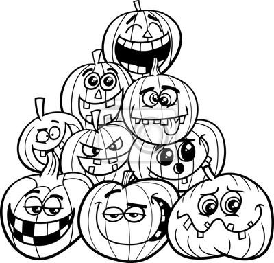 Halloween Kürbisse Ausmalbilder Seite Fototapete Fototapeten