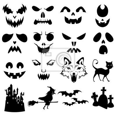 Halloween Kurbisse Geschnitzte Silhouetten Vorlage Fototapete