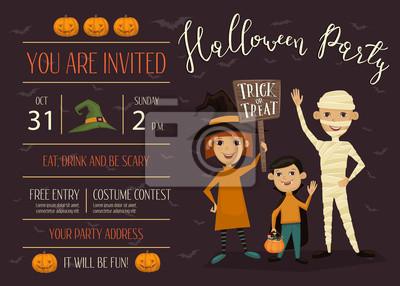 Halloween-nachtparty einladung mit platz für text. lustige kinder ...