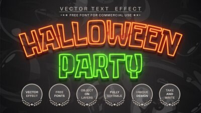 Fototapete Halloween party - editable text effect, font style