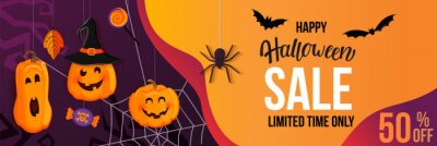 Fototapete Halloween Sale horizontal banner with with monster pumpkins inviting to shopping with big discounts. Template for web,poster,flyers, ad,promotions,blogs,social media,marketing.Vector illustration.
