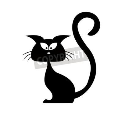 halloween schwarze katze vektor silhouette cartoon clipart illustration fototapete. Black Bedroom Furniture Sets. Home Design Ideas