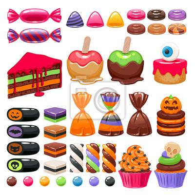 Halloween Süße Leckereien Gesetzt Süßigkeiten Und Snacks