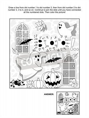 Fototapete: Halloween themed connect the dots picture puzzle and coloring