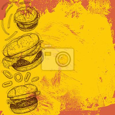 Hamburger-Hintergrund Ein Cheeseburger und zwei Hamburger mit Zwiebelringen und Pommes frites über einen abstrakten Hintergrund.