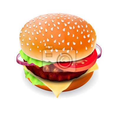 Hamburger mit Fleisch auf weiß, Vektor eps10 isoliert.