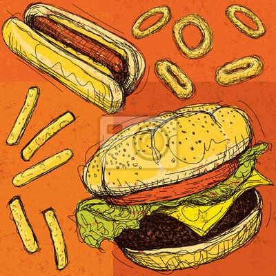 Hamburger und Hotdog mit Pommes frites und Zwiebelringen