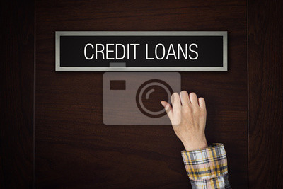Fototapete Hand auf Kredit-Darlehen Tür klopfen