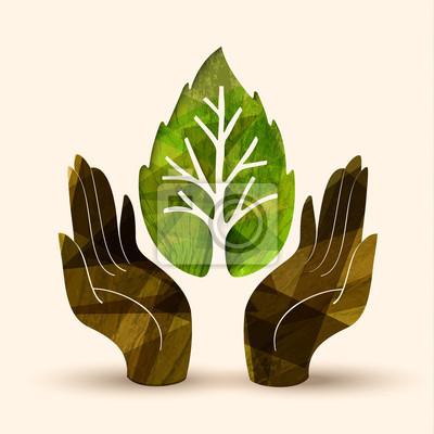 Fototapete Hand Baum Konzept Illustration Für Die Natur Helfen