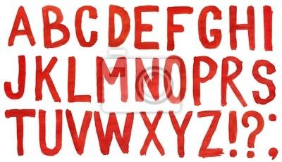 Hand bemalt rot Aquarell Alphabet