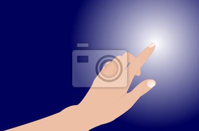 Hand berühren auf blauem Hintergrund