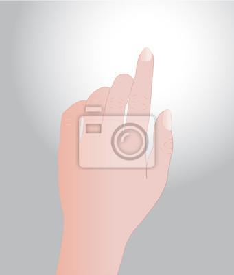 Hand berühren auf grauem Hintergrund