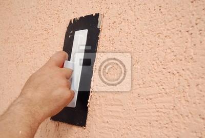Schon Fototapete Hand, Die Eine Putzwerkzeug Fertig Die Renovierung Der Wand