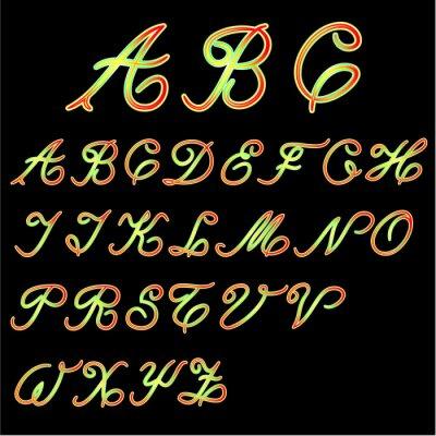 Hand drawn  Alphabet calligraphy Custom Typography  colorful for Designers Logo, for Poster, Invitation, etc. on black background  vintage vector illustration editable