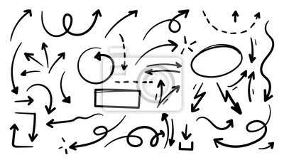 Fototapete Hand drawn arrow mark icons vector