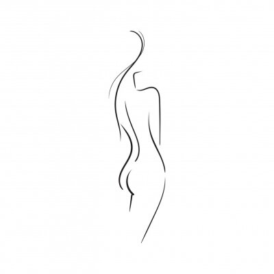 Fototapete Hand-drawn Beautiful nude  young woman isolated on white background.Line illustration.Beauty Logo.Stock vector illustration.