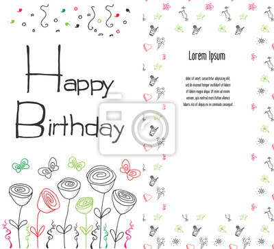 Fototapete Hand Drawn Birthday Greeting Card Party Background With Balloons Confetti Written