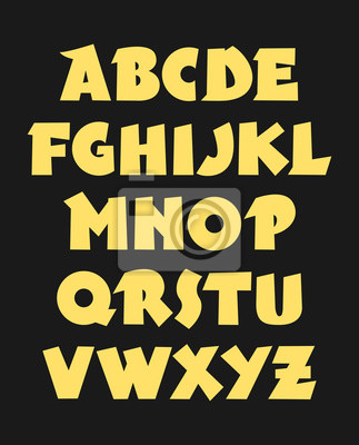 Hand drawn bold gothic font. Vector alphabet