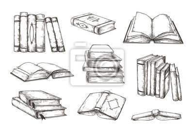 Fototapete Hand drawn books. Retro image engraved pile and stack of different books, educational illustration for story or novel. Vector vintage decorative ink sketch lipart design elements set