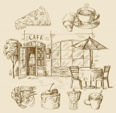 Fototapete hand drawn cafe