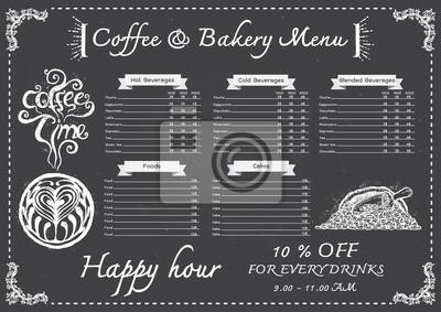Fototapete Hand Drawn Cafe Menu Con Chalkboard Design Template