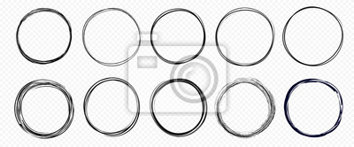 Fototapete Hand drawn circle line sketch set isolated on transparent background. Vector circular scribble doodle round circles for  message and for note mark . Vector illustration