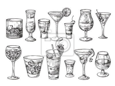 Fototapete Hand drawn cocktail. Alcoholic drinks in glasses. Sketch juice, margarita martini. Cocktail with rum, gin whiskey vector set. Illustration of alcohol sketch, juice and drink cocktail