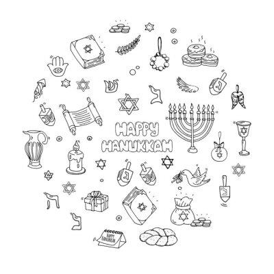 Hand drawn doodle Happy Hanukkah icons set Vector illustration Jewish religious holiday symbols collection Cartoon hebrew letters and decoration elements. Sketch menorah Dreidel Olive. Star of David